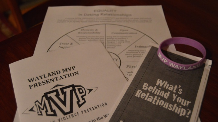 "Pictured above  are materials that were available during the MVP presentation. The presentation discussed signs of abuse and how to prevent it. ""I hope that we have made people more aware of what an unhealthy relationship looks like and how to strive for a healthy relationship,"" club advisor Rachel Hanks said."