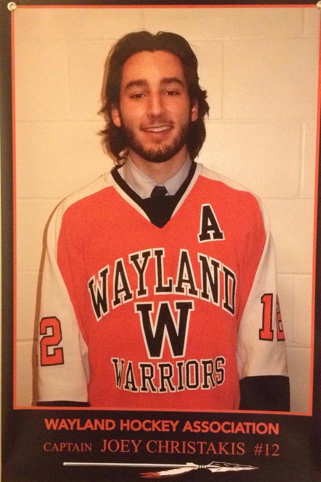 Above is senior Joey Christakis. Christakis is a key player on the boys' hockey team.