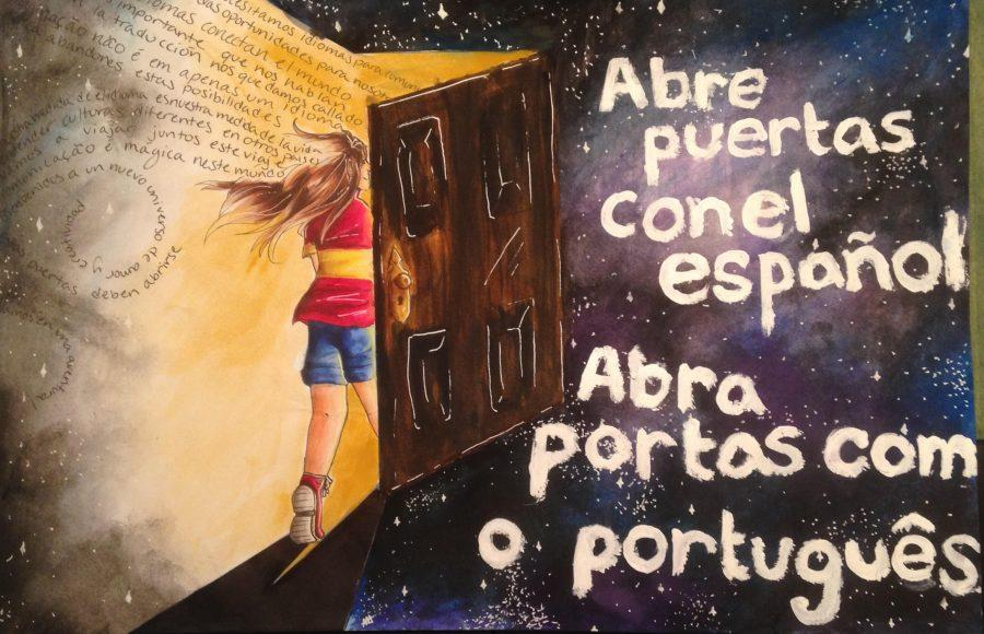 Pictured+above+is+a+poster+drawn+by+senior+Athina+Apazidis+for+the+AATSP+%28American+Association+of+Teachers+of+Spanish+and+Portuguese%29.+%E2%80%9CDrawing+for+me+is+an+escape%2C+an+expression.+Whatever+I%E2%80%99m+feeling+can+be+spilled+out+onto+paper+and+take+away+stress+and+pressure+and+negative+thoughts+like+nothing+else%2C%E2%80%9D+Apazidis+said.