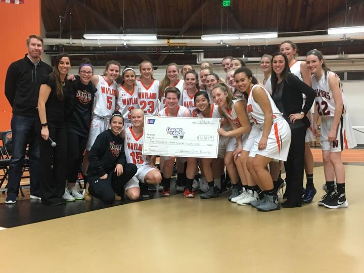 WHS%27+Girls+Basketball+team+presents+a+check+of+%244%2C391+to+the+American+Cancer+Society.+%E2%80%9CWe+sell+t-shirts+for+10+dollars+to+raise+money+for+the+Coaches+vs.+Cancer+program%2C+and+all+of+the+money+goes+to+the+American+Cancer+Society%2C%E2%80%9D+Cosenza+said.