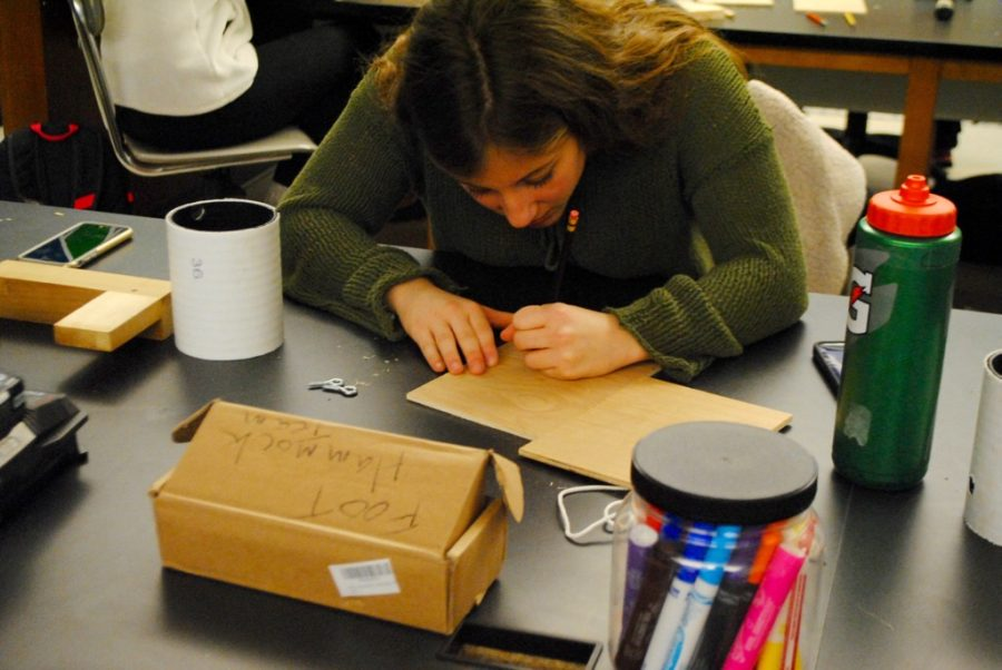 Pictured+above+is+a+student+building+a+birdhouse+at+History+Department+Head+Kevin+Delaney%27s+woodworking+workshop.+Delaney+hosted+the+workshop+in+the+makerspace+on+Friday+as+a+part+of+WHS%27+annual+winter+week.+%22If+this+%5Bworkshop%5D+exposes+the+makerspace+a+little+bit+and+gets+one+or+two+kids+thinking+about+it%2C+then+%5BI+believe+it+has%5D+succeeded%2C%22+Delaney+said.