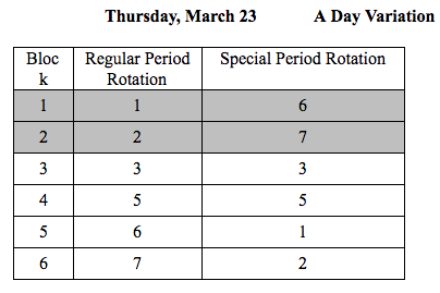MCAS Testing Day Schedules
