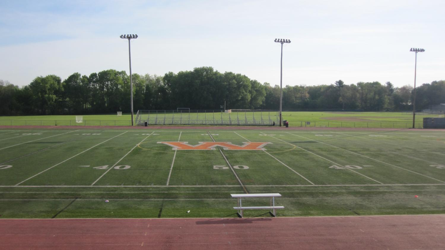 """Every athletic field at Wayland High School will be either renovated, or repositioned in the coming years. """"The track is at the end of its useful life, the turf is approaching that timetable quickly, I think we have bleachers and a press box that have reached the end of their useful lives as well,"""" Rollins said. """"The tennis courts are also in poor condition. So this is really of the essence."""""""