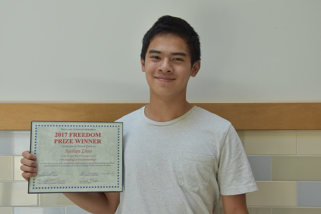 Nathan Zhao wins Freedom Prize Essay Contest
