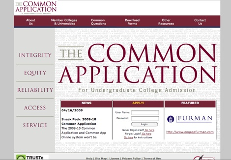 CommonApplication.org serves as an aide (and source of anger) high school students applying to college. (Screenshot: David Ryan/WSPN)