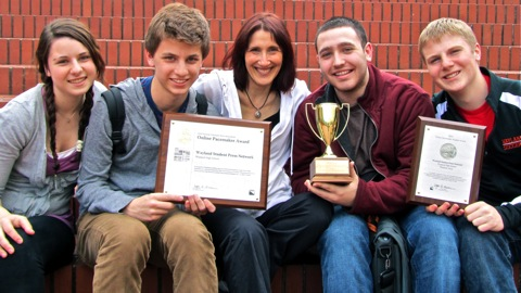 Wayland students in Portland, Oregon shortly after receiving the Pacemaker Award and Best in Show from the National Scholastic Press Association. (From left to right: Brianna Fay, Matthew Gutschenritter, advisor Janet Karman, David Ryan, Andrew Herstine) (Courtesy Photo: Bill Ryan)