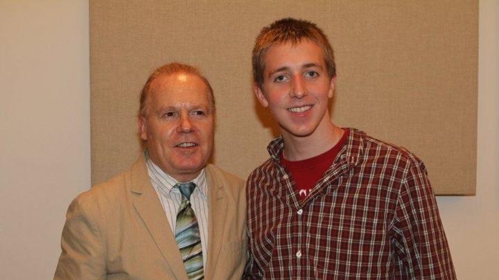 Senior Patrick Curtin (right) with his saxaphone tutor Philippe Crettien. (Photo Courtesy of Cathy Curtin)