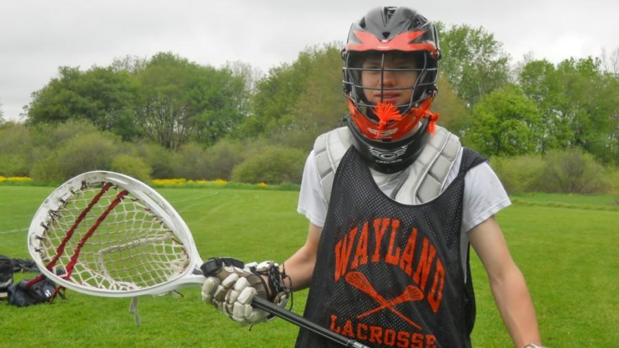 Tommy Hunley, who joined Wayland High School in the middle of the 2011-2012 school year, is now a goalie on WHS's varsity lacrosse team.
