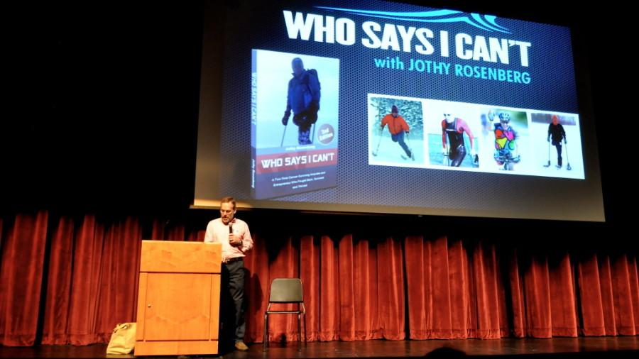 Jothy Rosenberg gives his presentation on life with an amputated leg on the main stage. A Wayland resident, Rosenberg lost his leg to Osteosarcoma - a rare form of bone cancer found only in teenagers. Despite his disability, Rosenberg continues to ski, swim and climb mountains, saying,