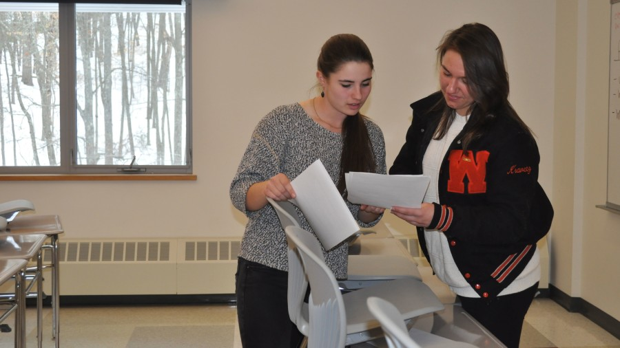 Above, Senior Show director Emma Conroy helps senior Hannah Kravetz edit her script. On February 28, Sammy Keating caught up with Conroy to see how the process of Senior Show is going.