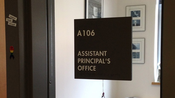 Pictured above is a sign for the assistant principals office at the high school. Ethan Dolleman will be WHS newest assistant principal starting on July 1. I really look forward to the challenge of my new role. I expect to learn a ton, but am really excited by that prospect, Dolleman said.