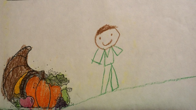 """Pictured above is a first grader's colored picture for Thanksgiving. Administration discusses the Thanksgiving curriculum taught from elementary school to high school.  """"I think we give students a good background of the events leading up to the first Thanksgiving and the significance of the holiday in American culture,"""" Karyn Saxon, the Wayland elementary school social studies curriculum director said."""