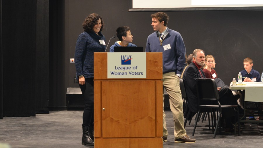 Pictured above are participants in the annual Civics Bee. From left: Wendy Mishara, Andy Wang and Will Sharton.