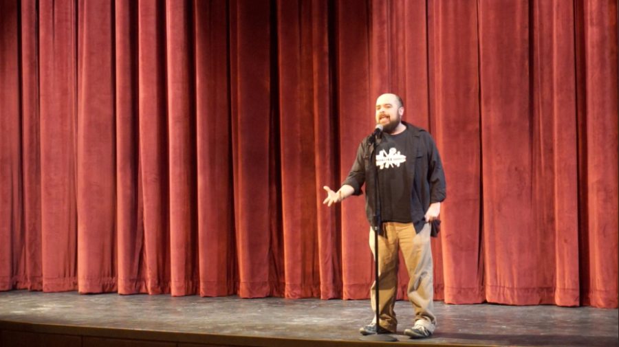 Above is Alex. He acted as the master of ceremonies for the poetry slam.