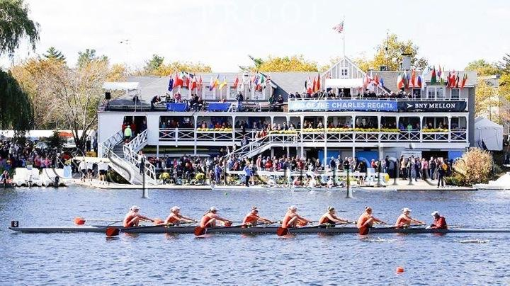 Pictured above is the Wayland-Weston girls' first varsity 8 boat at the 2014 Head of the Charles, with senior Audrey Zizza in the stroke seat, the first seat facing the right. Zizza is featured in this week's Athlete of the Week and is on her eighth season of crew.