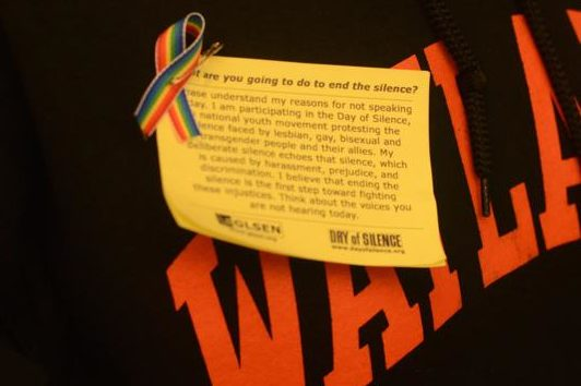 Pictured above is the badge that participants in the Day of Silence wore in 2015. The Gay Straight Alliance's Day of Silence was to raise awareness for the often silenced LGBTQ community.