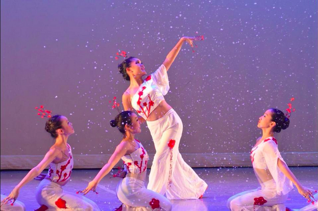 Pictured above is junior Brianna Fu performing at one of her Chinese folk dance recitals. Fu is part of a class at Angel Dance Company.