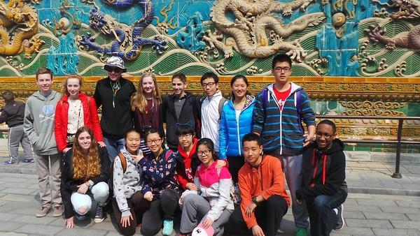 Pictured above are the seven Wayland exchange students who went to China, Chris Balicki, Lucy Hughes, Zach Knapp, Ella Johnson, Logan Dawson, Kaire Bernier, and Cassie O'Heron, along with their Chinese host siblings. WSPN interviewed the students about their experience in China.