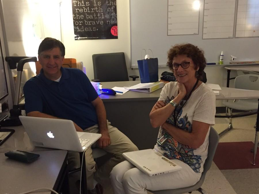WSPN caught up with LRT teacher Barbara Smith, who is retiring after 11 years of working at Wayland High School. Pictured above is Smith (right) with teacher George Armentano.