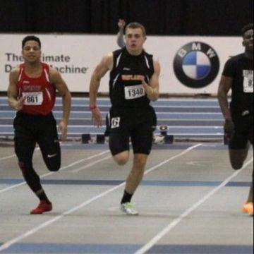 In the photo above, senior Robert Jones runs the 55m dash this past winter. Jones recently broke the previous Wayland High School record for this event.