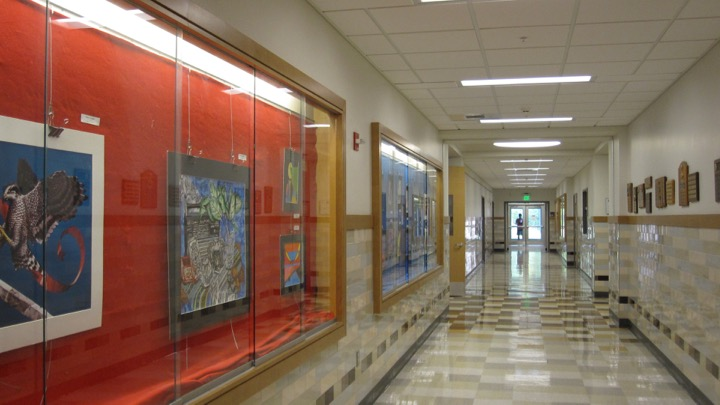 Above is the WHS arts hallway. WHS recently established a chapter of the National Arts Honors Society, a national organization for students who enjoy art.