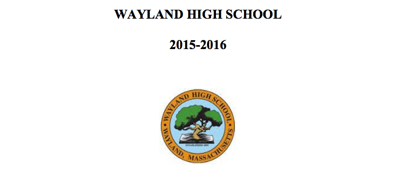 Pictured above is the Wayland High School Student Handbook. The handbook contains information about the requirements and benefits of senior and junior privileges.