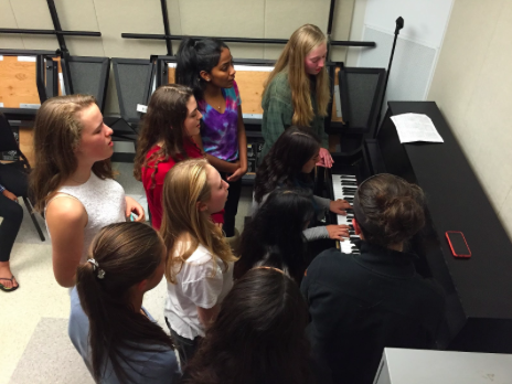 Above is a picture of a combined a cappella rehearsal in a practice room. From left to right, top to bottom, Anitta Thomas, Ella Johnson, Jen  Curran, Lilly Lin, Clara Hurney,  Jessica DeMasi, Maya Anand, Emma DiIanni, Alexa Calder.