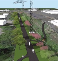 Above shows a visualization of what the future completed rail trail may look like. Note the power lines above the trail.