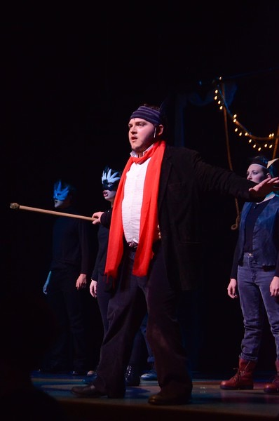 Above is senior Tim Spinale in this year's fall musical, Just So.