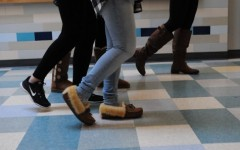 Students rush in the hallway during an ALICE drill. An annual