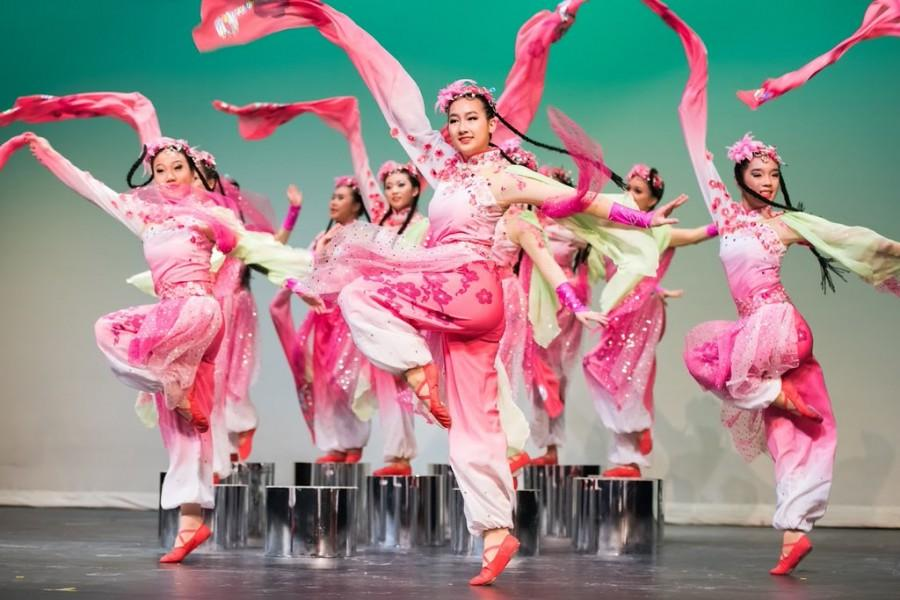 Pictured above are dancers performing traditional Chinese dance.