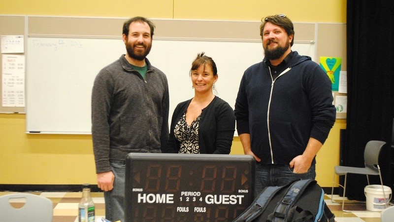 """Pictured above are wellness teacher and SADD leader John Berry, wellness teacher Rachel Hanks and Wayland Cares worker Jason Verhoosky. During Winter Week, they held a debate in front of students on the legalization of marijuana. """"My goal for all of you is to make healthy and happy decisions,"""" Verhoosky said."""