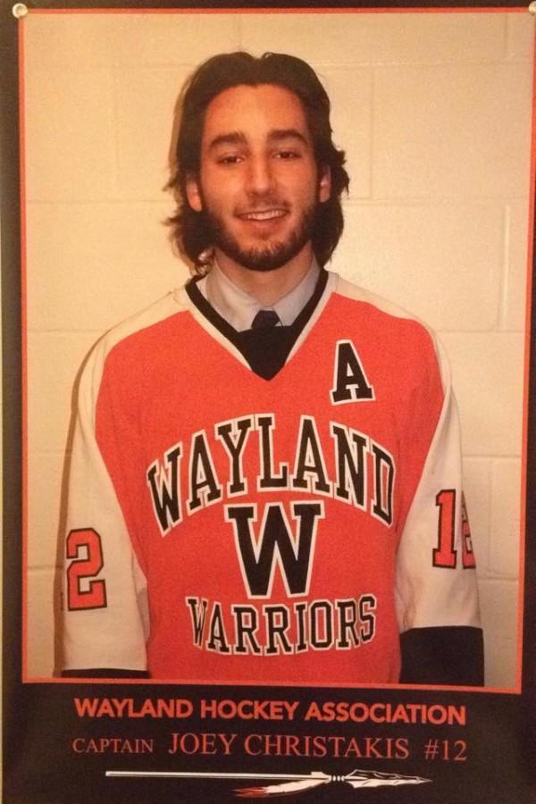 Above is senior Joey Christakis. Christakis is a key player on the boys hockey team.
