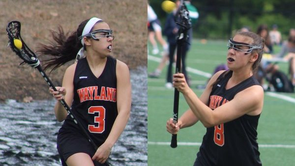 """Above are Jackie (left) and Abby (right) Stoller playing lacrosse. The Stollers have both verbally committed to colleges to play lacrosse. """"Being so close in age, we always challenged each other to be better,"""" Jackie said."""