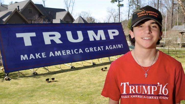 """Pictured is sophomore Addison Antico in front  of the Trump sign. His family built a 14 by 48 foot sign in support of the Republican presidential candidate Donald Trump.  We mind our own business, and we are never disrespectful towards someone who is voting for someone else,"""" Antico said."""