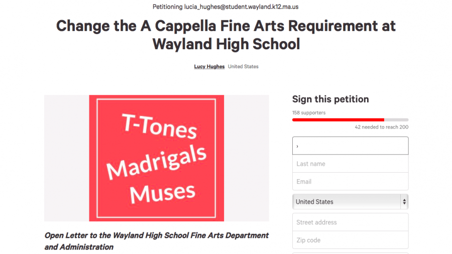 Pictured is the online petition. Muses member Lucy Hughes created this petition, hoping to change the fine arts requirement for a cappella members.