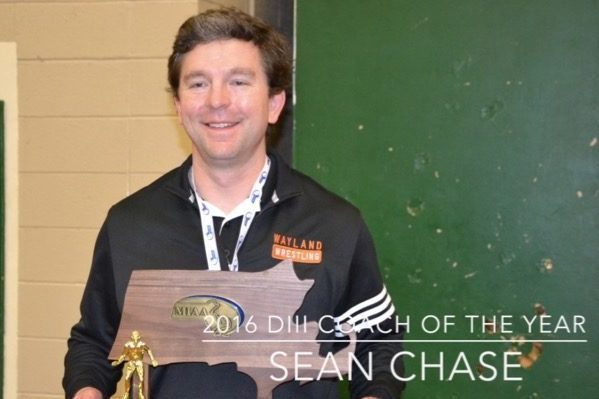 Pictured above is Wayalnd Wrestling head coach and history teacher Sean Chase.