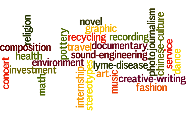 """Above is a wordle of all the topics people are covering for their senior independent projects. """"The senior project provides a structure in which such students can find a mentor and design and take on their own independent work, allowing them to learn new skills and take their goals to the next level, Barbara Shellito said."""