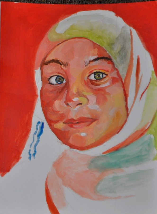 Pictured+above+is+a+portrait+by+junior+Nat+Hsu+of+a+child+living+in+a+Syrian+refugee+camp.+The+portrait%2C+along+with+many+others+like+it%2C+will+be+sent+to+the+child+by+the+Memory+Project.+%E2%80%9CIt+is+my+hope+that+by+creating+portraits+for+these+children%2C+we+are+letting+them+know+that+someone+far+away+cares+about+their+well-being%2C%E2%80%9D+art+teacher+Veronique+Latimer+said.+