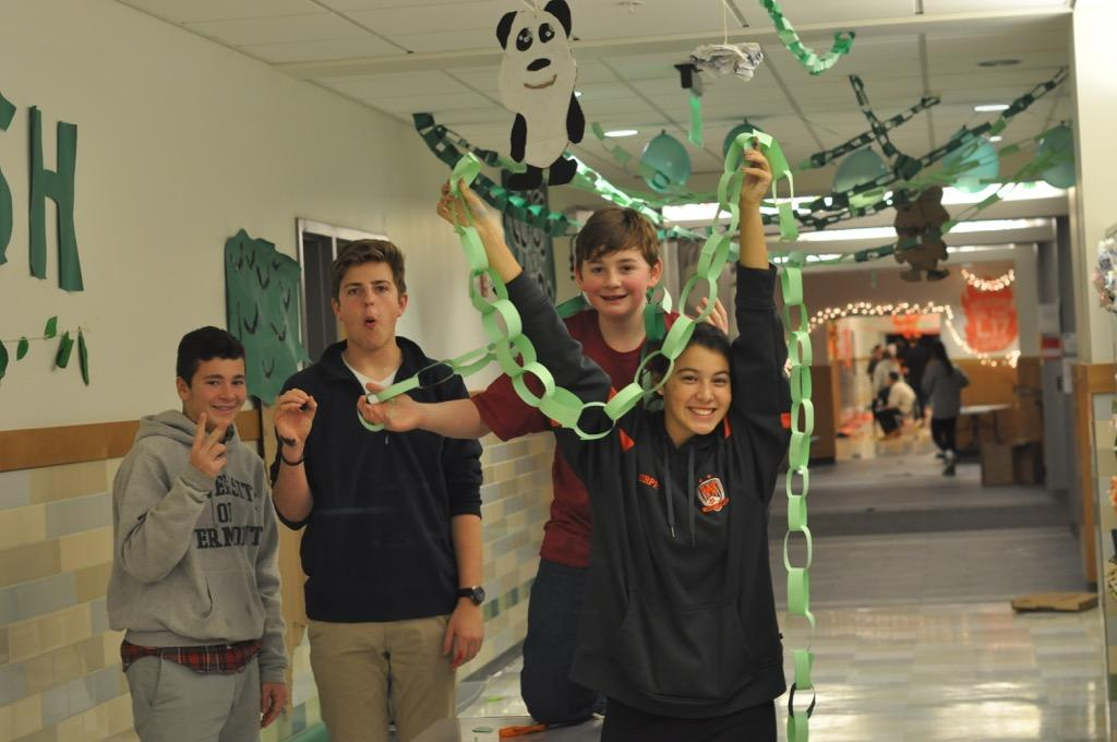 Pictured above are students decorating at the first ever