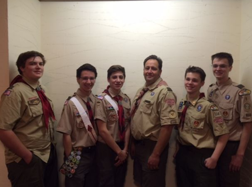 "Pictured above, is Alex Torres, third to the right, with four other Boy Scouts who've been awarded the Eagle Scout ranking. Left to right: Rick Ravosa (graduated), Matt Ludwig (senior), Alex Torres (senior), Scout Master Tom Kemper, John Broderick (senior) and Henry Rice (senior). ""I'm just going to keep volunteering, keep doing community service. It's one of the things I really like to do,"