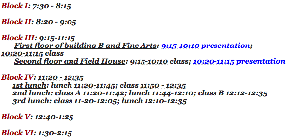 News Brief: bell schedule and preview for speaker on 11/29
