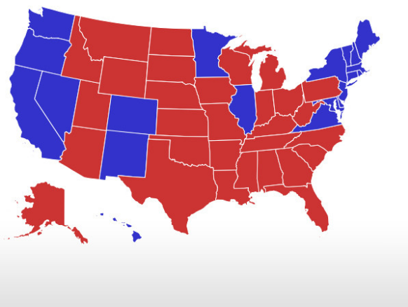 Pictured above is a map of the results of the 2016 presidential election. Charlie Moore argues that a popular vote would be more affective than the Elector College in deciding who the president will be.