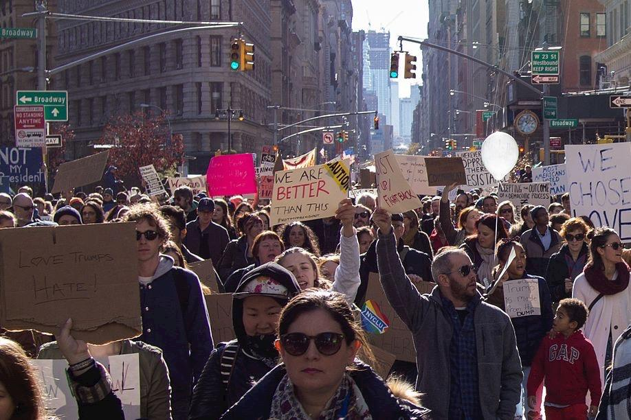 Pictured above is a scene from the Love Trumps Hate rally in New York City after the election. WSPN interviewed WHS students who attended rallies in New York City and Boston shortly after the election.