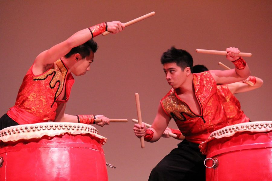 Local Chinese youth drummers perform a traditional routine as part of last year's Lunar New Year performance.