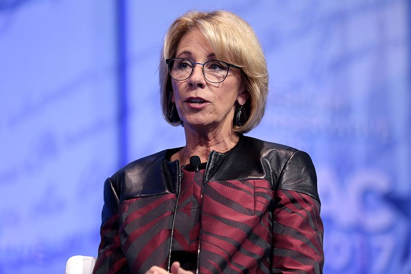 Above, Secretary of Education Betsy DeVos speaks at the Conservative Political Action Conference on February 23. WHS staff and faculty expressed varying opinions on DeVos confirmation as secretary.
