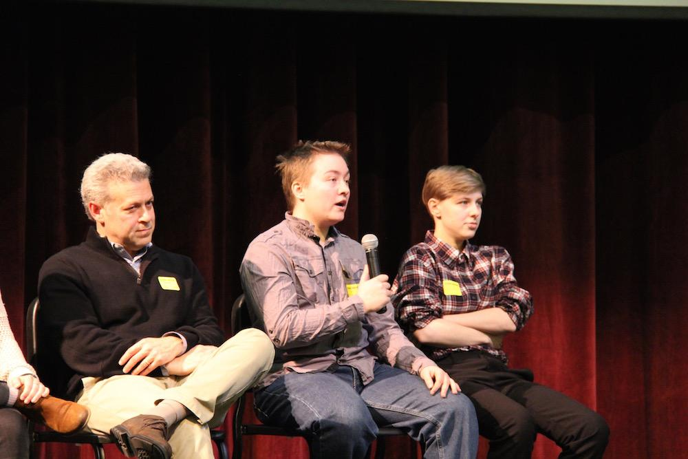 """Pictured above are speakers from PFLAG. WHS sophomores attended a mandatory assembly from PFLAG last Friday as a part of the organization's program with high schools across Greater Boston. """"I really liked how it was entertaining, which captivated people,"""" sophomore Michael Fujita said."""