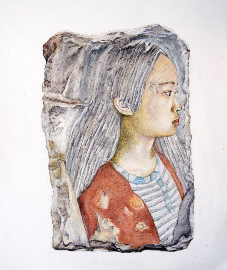 "Pictured above is one of Ao's self portraits. Amelia has been drawing for approximately 7 years, and has won many awards. ""I just love the safe haven it provides me,"" Ao said. ""It's like I can escape all the bad things in life for a period of time when I draw."""