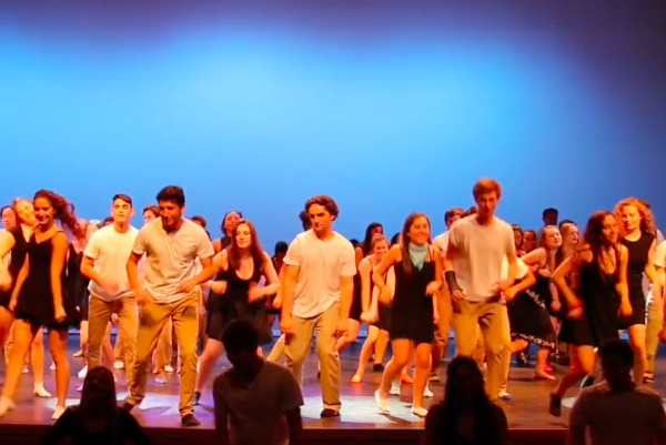 Above, the Class of 2017 performs a dance as part of Senior Show on March 18. Over two months, seniors prepared to put on the show, from script writing to dress rehearsals.