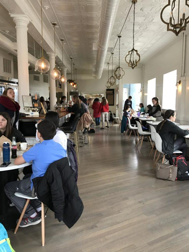 The sitting area of the Common Cafe and Kitchen. WSPN's Aimee LaRochelle reviews both the restaurant's breakfast and lunch experiences.